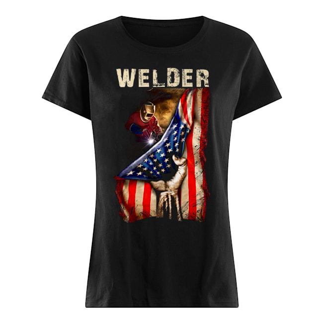 Proud Welder America flag Ladies t-shirt