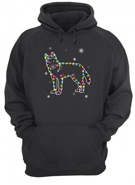 Siberian Husky Dog light Christmas Hoodie